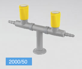 Double 180° gas standout, 2 taps (TOF- ITALY)