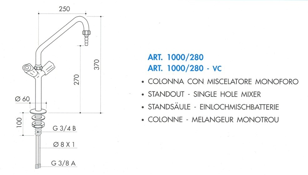 Hot & Cold, single hole water mixer standout ( TOF- ITALY)